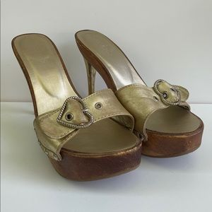 Aldo Wood Platforms with Gold Strap & Heart Buckle